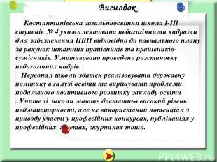Костянтинівська загальноосвітня школа І-ІІІ ступенів № 4 укомплектована педагогі