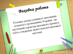 Виховна робота Головна умова успішного виховання сучасного громадянина України –