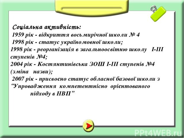 Соціальна активність: 1959 рік - відкриття восьмирічної школи № 4 1998 рік - статус україномовної школи; 1998 рік - реорганізація в загальноосвітню школу І-ІІІ ступенів №4; 2004 рік - Костянтинівська ЗОШ І-ІІІ ступенів №4 (зміна назви); 2007 рік - п…