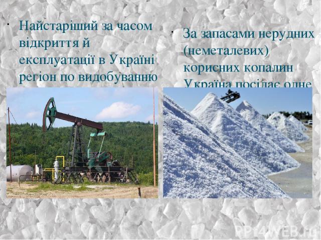 Найстаріший за часом відкриття й експлуатації в Україні регіон по видобуванню нафти — це Карпатський нафтовидобувний регіон. За запасами нерудних (неметалевих) корисних копалин Україна посідає одне з провідних місць у світі.