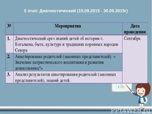 II этап: Диагностический (15.09.2015 - 30.09.2015г)