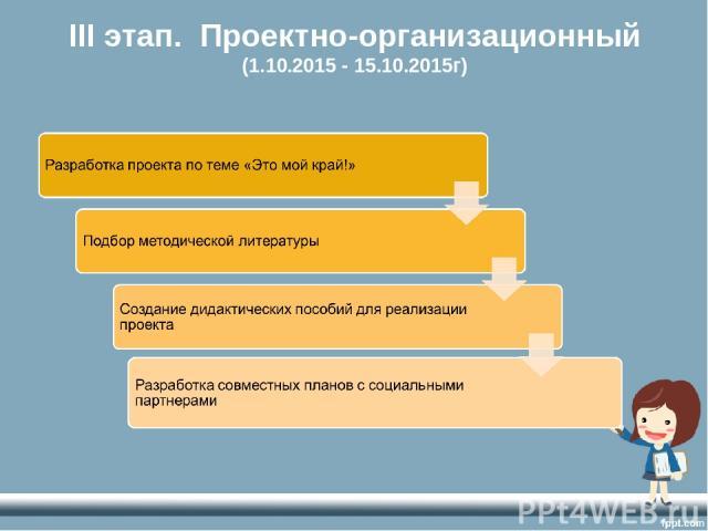 III этап. Проектно-организационный (1.10.2015 - 15.10.2015г)