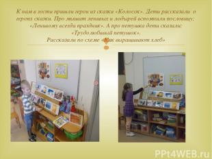 К нам в гости пришли герои из сказки «Колосок». Дети рассказали о героях сказки.
