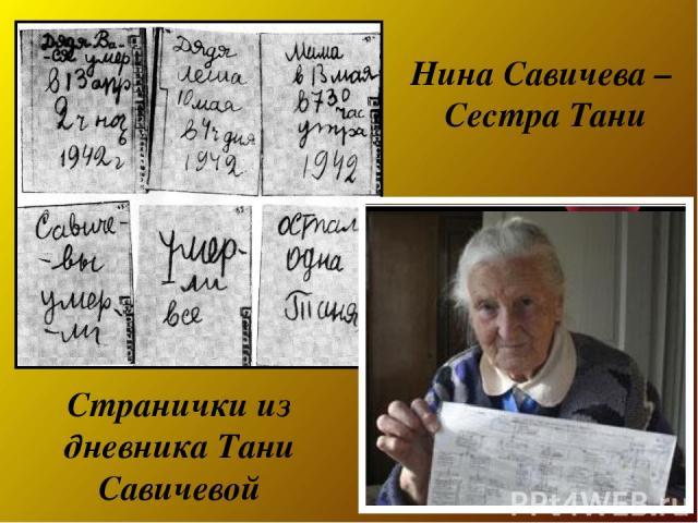 Нина Савичева – Сестра Тани Странички из дневника Тани Савичевой