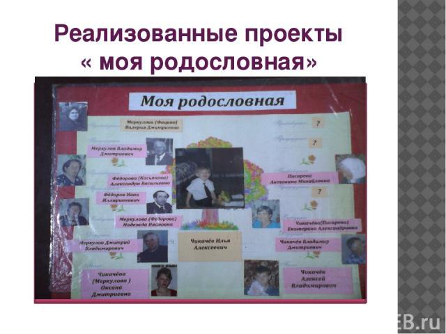 Реализованные проекты « моя родословная»