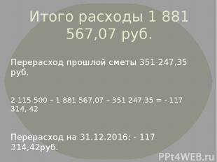 Итого расходы 1 881 567,07 руб. Перерасход прошлой сметы 351 247,35 руб. 2 115 5