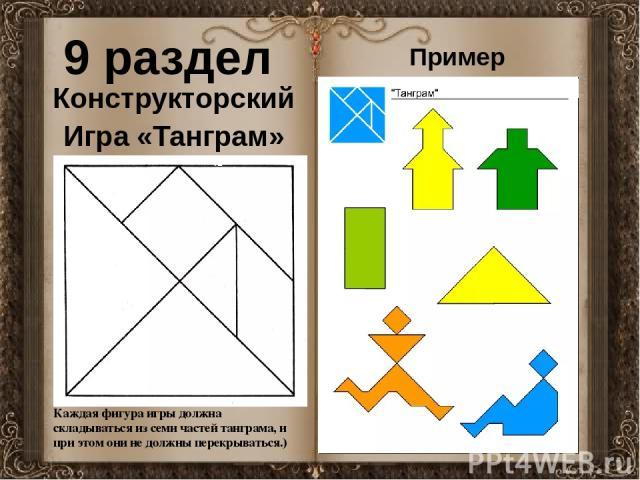 9 раздел Конструкторский Игра «Танграм» Каждая фигура игры должна складываться из семи частей танграма, и при этом они не должны перекрываться.) Пример