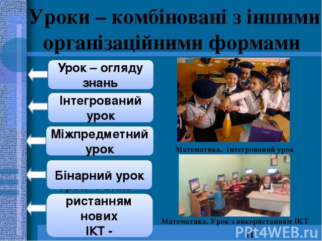 Уроки – комбіновані з іншими організаційними формами Урок з вико - ристанням нових ІКТ - технологій Інтегрований урок Міжпредметний урок Бінарний урок Урок – огляду знань Математика. Інтегрований урок Математика. Урок з використанням ІКТ