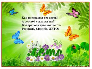 Как прекрасны все цветы! А со мной согласен ты? Вся природа дивным цветом Расцве