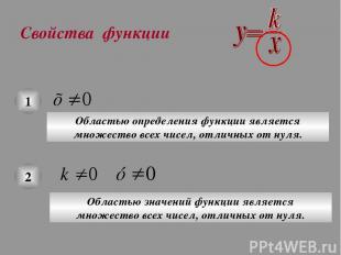 Свойства функции 1 Областью определения функции является множество всех чисел, о