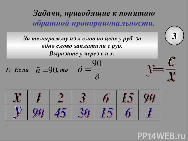 Задачи, приводящие к понятию обратной пропорциональности. 3 За телеграмму из х слов по цене у руб. за одно слово заплатили с руб. Выразите у через с и х.