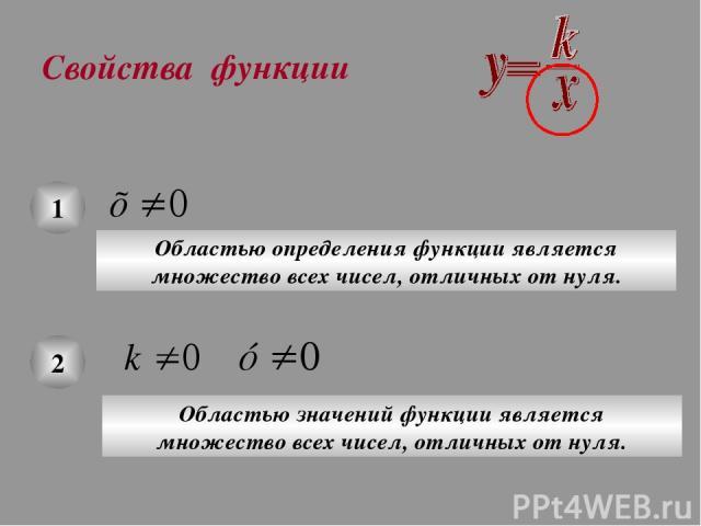 Свойства функции 1 Областью определения функции является множество всех чисел, отличных от нуля. 2 Областью значений функции является множество всех чисел, отличных от нуля.
