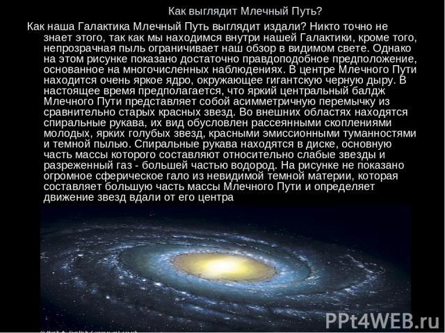 Как выглядит Млечный Путь? Как наша Галактика Млечный Путь выглядит издали? Никто точно не знает этого, так как мы находимся внутри нашей Галактики, кроме того, непрозрачная пыль ограничивает наш обзор в видимом свете. Однако на этом рисунке показан…