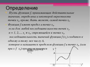 Определение Пусть функцияf, принимающая действительные значения, определена в