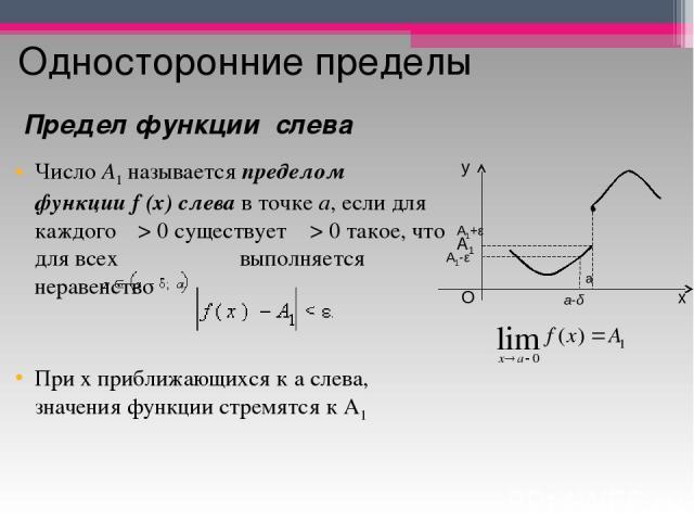 Односторонние пределы ЧислоA1называетсяпределом функцииf(x)слевав точкеa, если для каждого ε>0 существует δ>0 такое, что для всех  выполняется неравенство При х приближающихся к а слева, значения функции стремятся к А1 Предел функци…