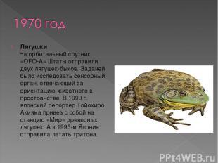 Лягушки На орбитальный спутник «OFO-A» Штаты отправили двух лягушек-быков. Задач