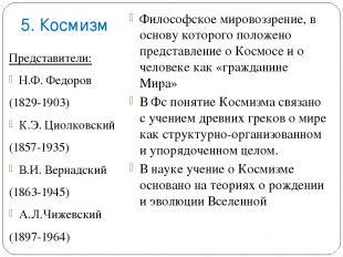 5. Космизм Представители: Н.Ф. Федоров (1829-1903) К.Э. Циолковский (1857-1935)