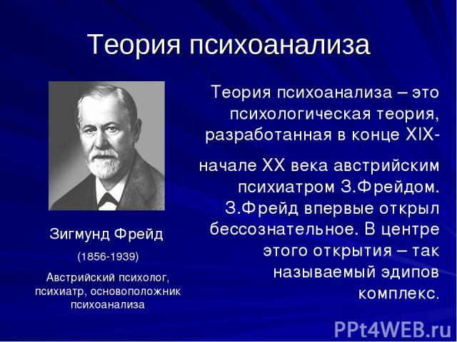 Теория психоанализа Зигмунд Фрейд (1856-1939) Австрийский психолог, психиатр, основоположник психоанализа Теория психоанализа – это психологическая теория, разработанная в конце XIX- начале XX века австрийским психиатром З.Фрейдом. З.Фрейд впервые о…