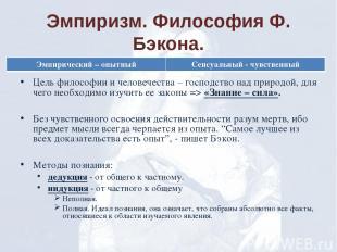 Эмпиризм. Философия Ф. Бэкона. Цель философии и человечества – господство над пр