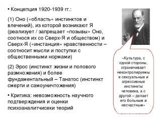 Концепция 1920-1939 гг.: (1) Оно («область» инстинктов и влечений), из которой в