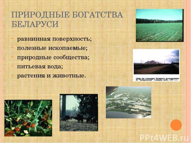 ПРИРОДНЫЕ БОГАТСТВА БЕЛАРУСИ равнинная поверхность; полезные ископаемые; природные сообщества; питьевая вода; растения да животные.