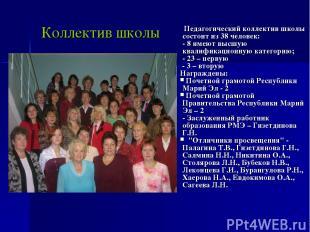 Коллектив школы Педагогический коллектив школы состоит из 38 человек: - 8 имеют