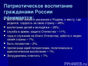 Патриотическое воспитание гражданами России понимается: воспитание любви и уваже