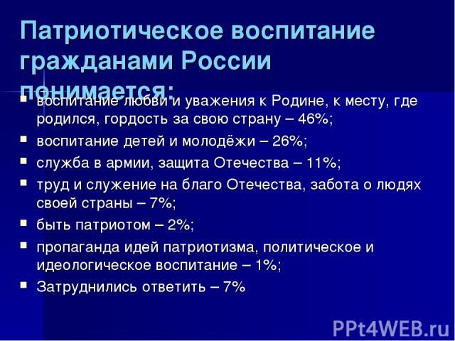 Патриотическое воспитание гражданами России понимается: воспитание любви и уважения к Родине, к месту, где родился, гордость за свою страну – 46%; воспитание детей и молодёжи – 26%; служба в армии, защита Отечества – 11%; труд и служение на благо От…