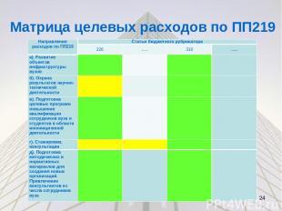 Матрица целевых расходов в соответствии с ПП219 * Направления расходов в области ПП219 Статьи бюджетн