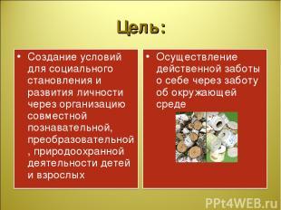 Цель: Создание условий для социального становления и развития личности через орг