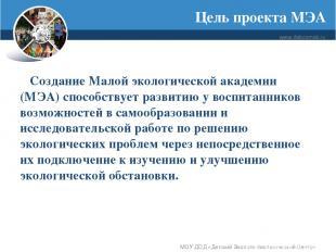Цель проекта МЭА www.debcomsk.ru МОУ ДОД «Детский Эколого-биологический Центр» С