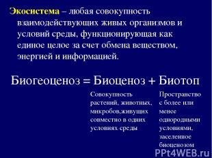 Биогеоценоз = Биоценоз + Биотоп Экосистема – любая совокупность взаимодействующи