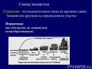 Смена экосистем Сукцессия - последовательная смена во времени одних биоценозов д