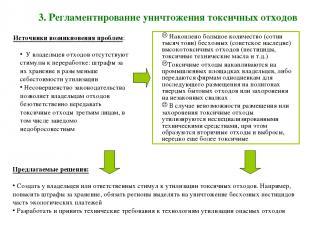 3. Регламентирование уничтожения токсичных отходов Накоплено большое количество