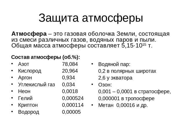 Защита атмосферы Состав атмосферы (об.%): Азот 78,084 Кислород 20,964 Аргон 0,934 Углекислый газ 0,034 Неон 0,0018 Гелий 0,000524 Криптон 0,000114 Водород 0,00005 Водяной пар: 0,2 в полярных широтах 2,6 у экватора Озон: 0,001 – 0,0001 в стратосфере…