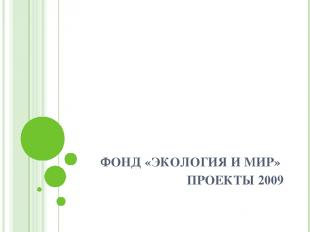 ФОНД «ЭКОЛОГИЯ И МИР» ПРОЕКТЫ 2009