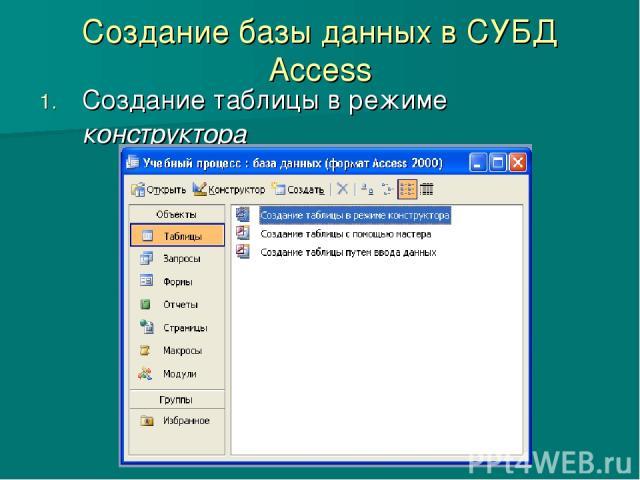 Как создать базу данных в access 2010
