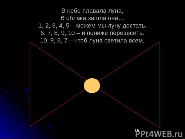 В небе плавала луна, В облака зашла она… 1, 2, 3, 4, 5 – можем мы луну достать. 6, 7, 8, 9, 10 – и пониже перевесить. 10, 9, 8, 7 – чтоб луна светила всем.