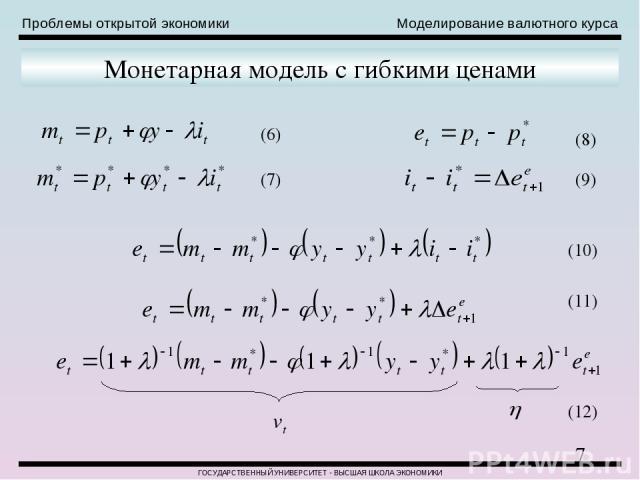 Проблемы открытой экономики Моделирование валютного курса ГОСУДАРСТВЕННЫЙ УНИВЕРСИТЕТ - ВЫСШАЯ ШКОЛА ЭКОНОМИКИ Монетарная модель с гибкими ценами (6) (7) (8) (9) (10) (11) (12)