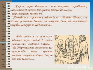Утром царю доложили, что старшина придворных математиков просит выслушать важное