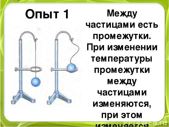 Между частицами есть промежутки. При изменении температуры промежутки между частицами изменяются, при этом изменяется объем твердого тела Опыт 1