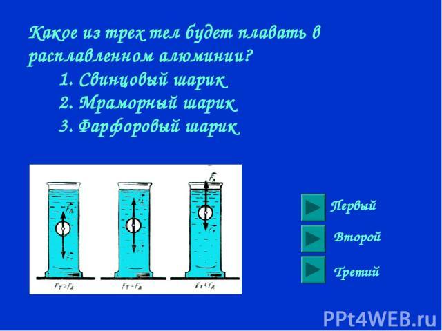 Какое из трех тел будет плавать в расплавленном алюминии? 1. Свинцовый шарик 2. Мраморный шарик 3. Фарфоровый шарик Первый Второй Третий