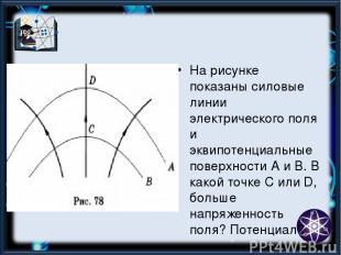 На рисунке показаны силовые линии электрического поля и эквипотенциальные поверх