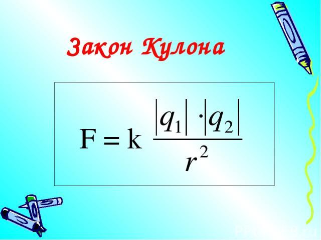 Закон Кулона F = k