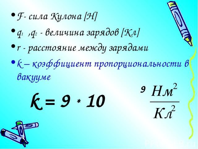 F- сила Кулона [Н] q1 ,q2 - величина зарядов [Кл] r - расстояние между зарядами k – коэффициент пропорциональности в вакууме k = 9 * 10 9