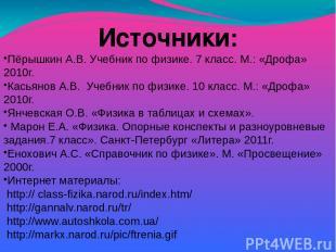 Источники: Пёрышкин А.В. Учебник по физике. 7 класс. М.: «Дрофа» 2010г. Касьянов