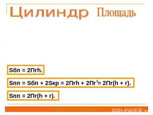 Sбп = 2Пrh. Геометрия. Тела вращения. Sпп = Sбп + 2Sкр = 2Пrh + 2Пr = 2Пr(h + r)