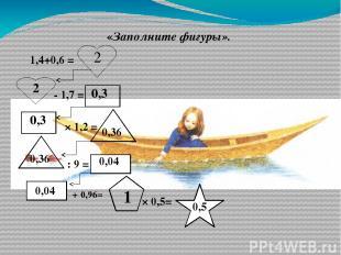 «Заполните фигуры». 1,4+0,6 = - 1,7 = × 1,2 = : 9 = + 0,96= × 0,5= 2 2 0,3 0,3 0