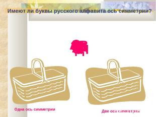 Имеют ли буквы русского алфавита ось симметрии? Одна ось симметрии Две оси симме
