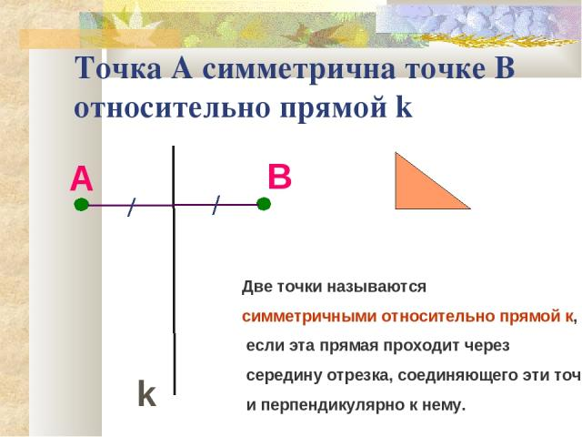 Точка А симметрична точке В относительно прямой k А k В Две точки называются симметричными относительно прямой к, если эта прямая проходит через середину отрезка, соединяющего эти точки, и перпендикулярно к нему.